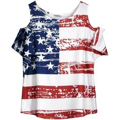 Cold Shoulder Distressed American Flag T shirt (825 RUB) ❤ liked on Polyvore featuring tops, t-shirts, shirts, ripped t shirt, cold shoulder shirt, cold shoulder t shirt, ripped shirt and white t shirt