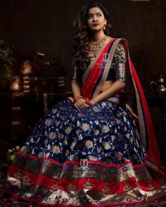 Sampradaya - 051 SOLD Being Classy isn't a choice. It's a Lifestyle . For orders/queries Call/ what's app us on 8341382382 or Mail us… Indian Lehenga, Indian Wedding Lehenga, Banarasi Lehenga, Half Saree Lehenga, Lehnga Dress, Lehenga Blouse, Sharara, Indian Bridal Outfits, Indian Bridal Fashion