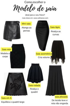 Como escolher o modelo de saia ideal para o seu tipo fisico. guia completo da saia feminina. saia lapis, saia reta, saia rodada, saia em A, saia plissada.