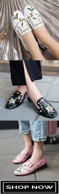 1d7276bec43f 51% off Ethnic style embroidery flat bottom comfortable rhinestone rivet  loafers Loafers For Women