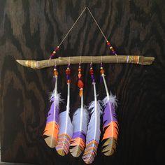 Boho Wall Hanging-American Indiana-Painted Driftwood Wall Hanging-Large Wall Hanging-Modern Dreamcatcher-Boho Decor-Painted Feathers-Native