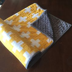 Yellow and White Plus sign modern baby blanket by FunkyBabyShop