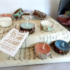 Perking up tea lights for favors - do the prettying up on glass holders instead of the tealights themselves, and they'll be reusable. Womens Retreat Gifts, Homemade Gifts, Diy Gifts, Camp Gifts, My Funny Valentine, Christian Crafts, Church Crafts, Christmas Tea, Bible Crafts