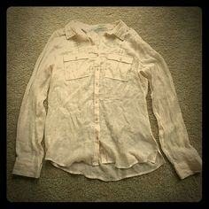 Light cream collared shirt!(: A very thin  shirt, you would need to wear something underneath it, great for summer days and has a beautiful back to it Maurices Tops Blouses