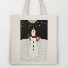 Snowman & The Moon Tote Bag by One Artsy Momma - $18.00