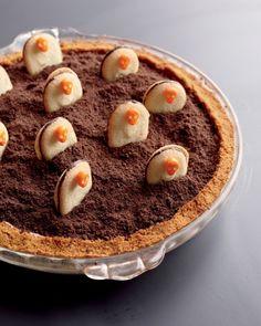 """I Scream"" Graveyard Pie recipe: classic mud pie turns into a tombstone treat."