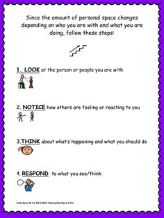 Sample Page From: KID CODES:  A 3 Part Personal Space Activity This activity has 3 parts: A social story, a scenario activity, and an Expected vs. Unexpected behavior chart to complete. This is great to do with an individual or a group of children who struggle with keeping or understanding personal space. You can read the social story and do the activity cards and also use the Expected vs. Unexpected behavior chart to brainstorm some of your own personal space scenarios.