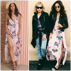 """Okay, lets all take a deep breath because Shay Mitchell is looking stunning in our """"Golden Fields Maxi Dress"""" #styligion #prettylittleliars #shaymitchell #maxidress #dress #flowerprint"""