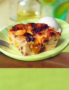 Peach and cherry bread pudding from CA Cling Peach Board