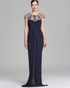 Tadashi Shoji Gown - Short Sleeve Jeweled Neckline | Bloomingdale's