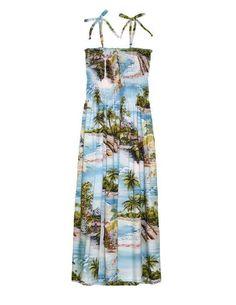 67582c520bc Mid-Length Hawaiian Scenic Rayon Dress - Hana Hou Hawaiian Sundress