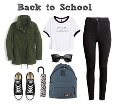 """Another outfit for back to school"" by ritagibellino on Polyvore featuring H&M, Eastpak, J.Crew, Converse and Forever 21"