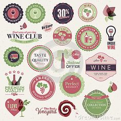 Set of labels and elements for wine by Varijanta, via Dreamstime