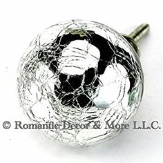 Crackled Mercury Glass Cabinet Knobs, Drawer Pulls & Handles Set/2pc ~ K188 Decorative Style Mercury Glass Ball Cabinet Knobs with Nickel Hardware - - Amazon.com