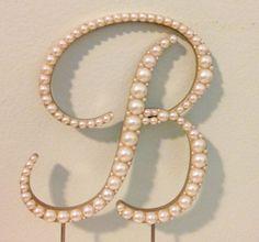 Elegant Pearl Monogram Cake Topper  Any Letter by LeandraNDesigns