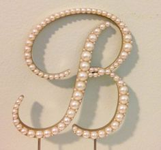 Elegant Pearl Monogram Cake Topper Font 4  Any by LeandraNDesigns
