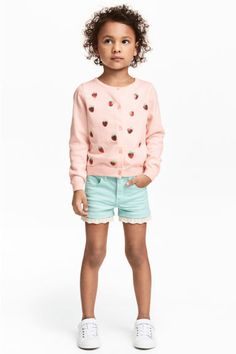 Twill shorts with lace - Mint - Kids | H&M CA 1