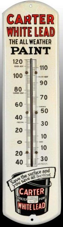 Porcelain Thermometer for Carter White Lead All Weather Pain showing at the bottom a can of the company's paint.
