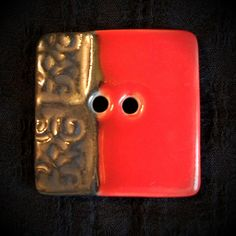 Square Red & Black Porcelain Button