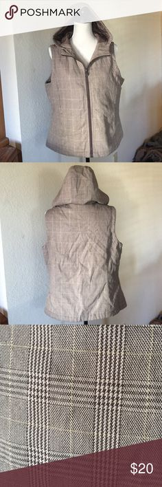Quilted Zip Up Vest Excellent used condition quilted zip up hooded vest. Gorgeous brown colors with a thin gold thread throughout the plaid pattern. Functional pockets. Very warm and also thin. Outback Trading Company Jackets & Coats Vests