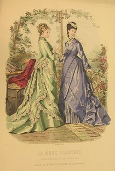 1870s fashion plate Scrapbook. (I think these are Natural Form gowns, but I can't see a date on the page.)