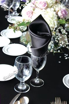 Roll Twist in wine glass or water goblet style - satin napkin