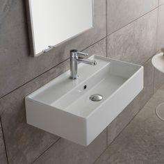 Bathroom Sink Rectangular White Ceramic Wall Mounted Or Vessel Sink 5003  Scarabeo 5003