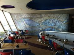 Encounter Restaurant - Los Angeles, CA, États-Unis. Space-inspired interior feels like a lounge in Space Mountain.