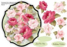Beautiful Roses on a Ornate Mat  on Craftsuprint - Add To Basket!