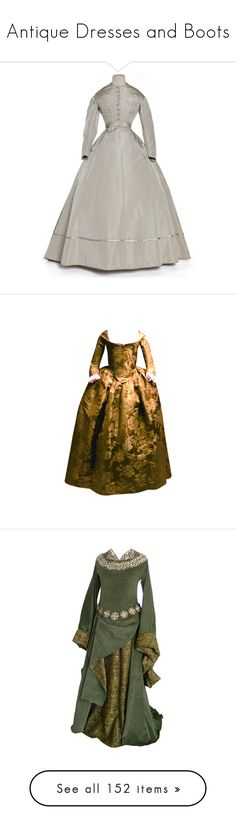 """Antique Dresses and Boots"" by greerflower ❤ liked on Polyvore featuring dresses, medieval, vintage, vintage day dress, lacy dress, lace dress, vintage victorian dress, victorian dress, gowns and historical"