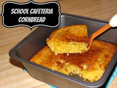 Sweet honey and buttery cornbread goodness from my elementary school cafeteria! School Lunch Recipes, School Lunches, Cafeteria Food, Cornbread Mix, Tasty Bites, Fun Cooking, Vintage Recipes, Sweet Bread, Baking Recipes