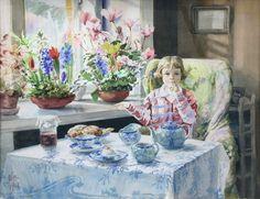 Княгиня Ольга Александровна Портрет внучки Ксении за завтраком. 1947 г. Бумага, акварель.