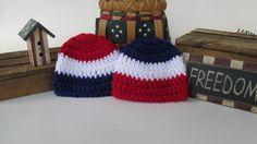 Crochet Preemie Hat, Micro Preemie Hat, NICU Hat, American Flag Baby, Military…