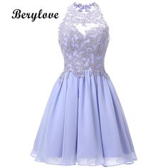BeryLove Short Lavender Homecoming Dresses 2018 Mini Beaded Lace Homecoming  Dress Open Back Homecoming Gowns Graduation b1981fdc1222
