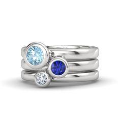 Round Sapphire Sterling Silver Ring with Aquamarine & Diamond   Gemstones By The Yard Stacking Ring Set   Gemvara