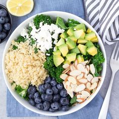 This Kale Superfood Salad packs a nutritional punch! Quinoa, blueberries, avocado, and goat cheese bring lots of flavor to this healthy power salad!