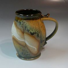 Awesome glaze and thumb-hook on the handle; from Larry Spears Pottery
