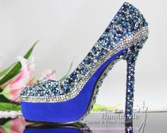 handmade Loyal Blue crystal designer wedding shoes for bride $176.30