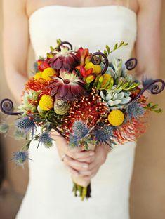 Brautstrauß gelb sukkulenten Ideen im Herbst orange gewagt, aber irgendwie auch cool... was meint ihr?
