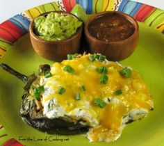 Chicken Stuffed Pasilla Peppers with Southwestern Salad with Cilantro Lime Venaigrette - This is to die for! Recipes With Chicken And Peppers, Chicken Stuffed Peppers, Chicken Recipes, Cilantro Lime Vinaigrette, Creamy Chicken And Rice, Bariatric Recipes, How To Cook Chicken, Mexican Food Recipes, Yummy Food