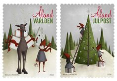 Aland post issued two stamps showing charming Christmas elves preparing for the season.