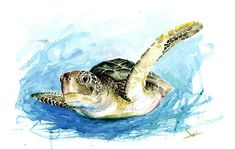 Life is just better with animals around! Light up your room and spirit with this fun and happy green sea turtle painting. Watching these majestic sea