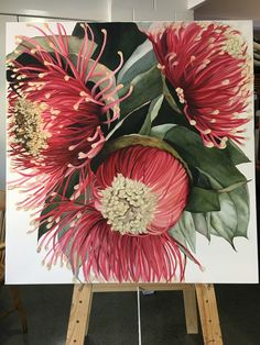 """""""Flowering Gumnuts by Julie Christensen. Paintings for Sale. Acrylic Painting Flowers, Abstract Flowers, Watercolor Flowers, Watercolor Paintings, Botanical Art, Botanical Illustration, Watercolor Illustration, Australian Native Flowers, Online Art"""