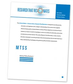 *Research That Resonates* Have you checked out the MTSS reports? View here: ow.ly/yF4Bg #LN #education #k12 #edchat #teachers
