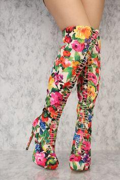 Beige Flower Front Elastic Tie Platform Thigh High Heel Boots Ami Clubwear