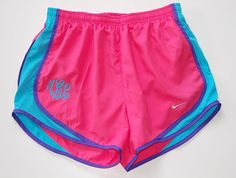 Monogrammed Nike Tempo Shorts in Neon Pink - Aqua - Lemon Yellow feature your three letter monogram in either Script or Serif font. Nike Shorts, Nike Tempo Shorts, Nike Running Shorts, Gym Shorts Womens, Sport Shorts, Cute Athletic Outfits, Cute Gym Outfits, Athletic Wear, Sport Outfits