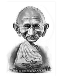 Mahatma Ghandi  Sawyer Illustration Inc. caricature and cartoon art studio
