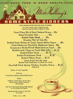 Miss Hullings Cafeteria Vintage Menu St Louis Missouri Cafeteria Vintage, Cafeteria Food, Restaurant Menu Design, Vintage Restaurant, Resturant Menu, Restaurant Identity, Vintage Menu, Vintage Ads, Vintage Stores