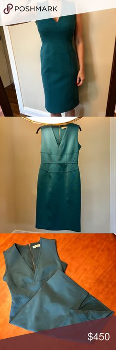 Burberry London Teal Bandage Midi Dress Worn once! Perfect condition! Gorgeous shade of teal, nice thick stretch fabric that hides lumps and bumps very well. Which means no Spanx… Yay! Gunmetal visible zipper down the back. I'm 5'5 and thats me in the photo wearing it but I'm really a size 2-4 so I have it clipped in the back to give the best idea of how it looks on. It is true to size but its still a bandage dress so it will be tight.  Exterior fabric:82% acetate, 14% nylon, 4% elastic…