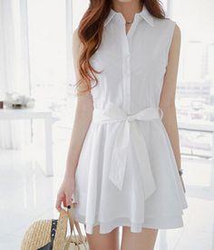 Sleeveless Shirt Dress 3854687